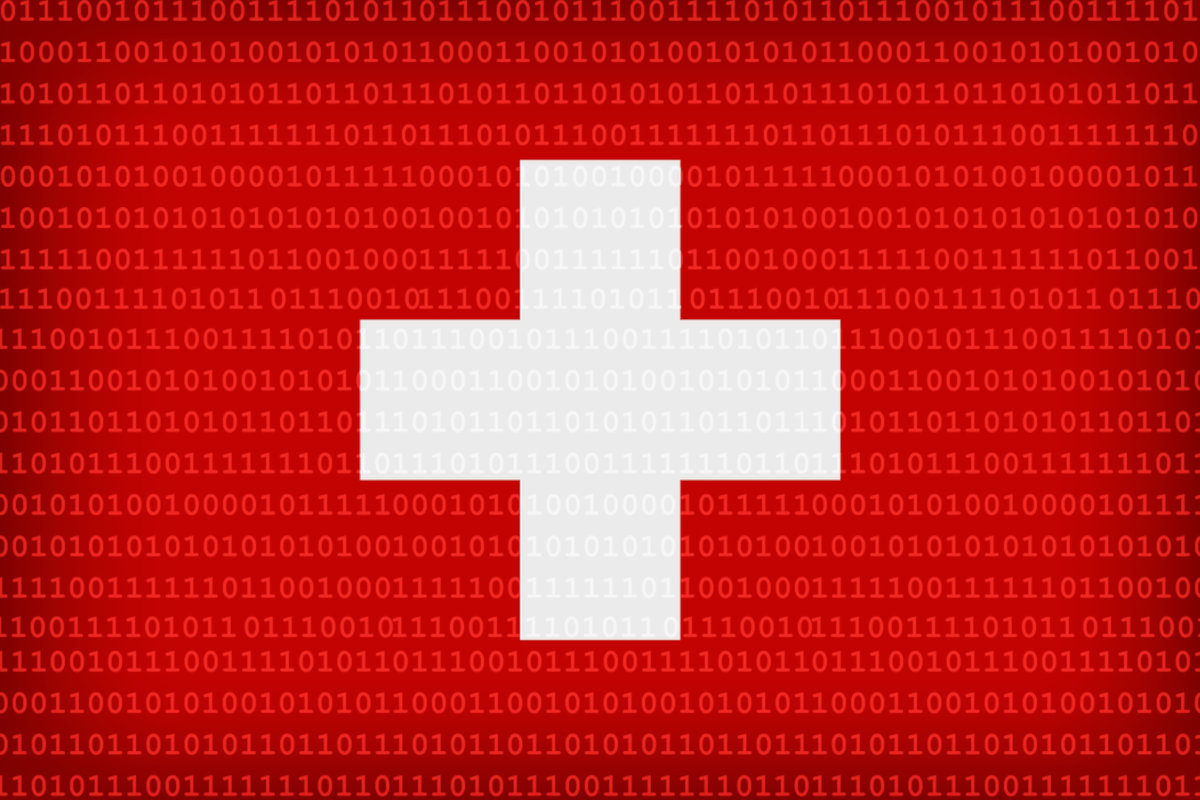 Swiss flag with binary code as background