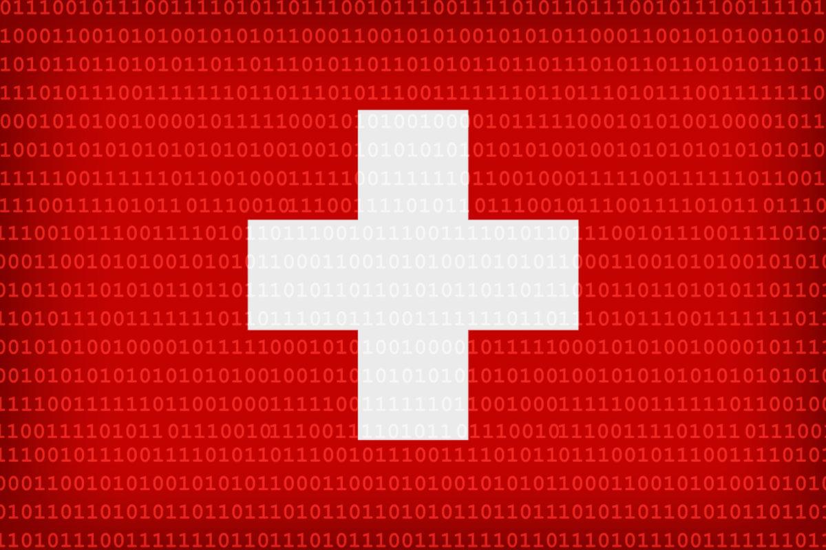 Schweizer Flagge mit Binärcode als Hintergrund