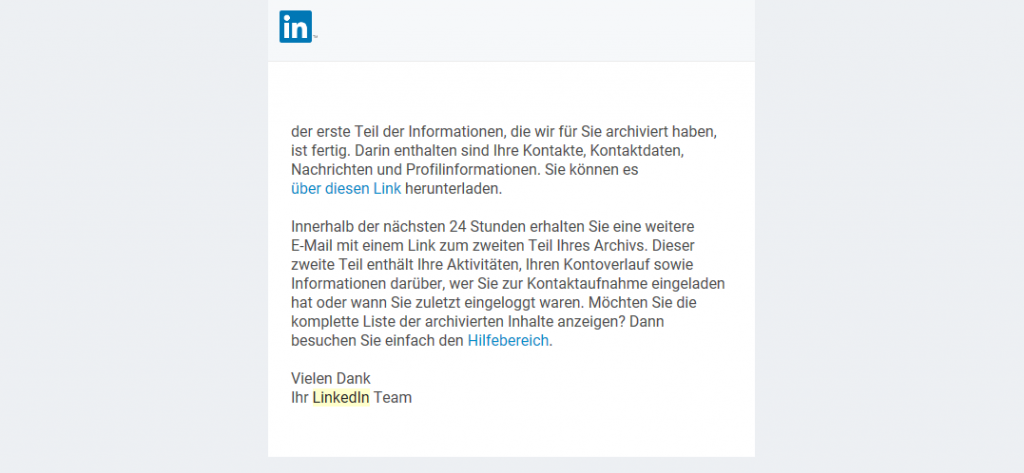 Email with link to download LinkedIn data