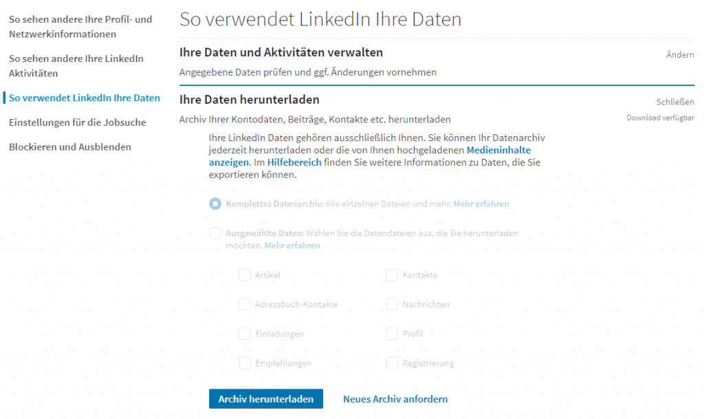 User interface to download personal data from LinkedIn