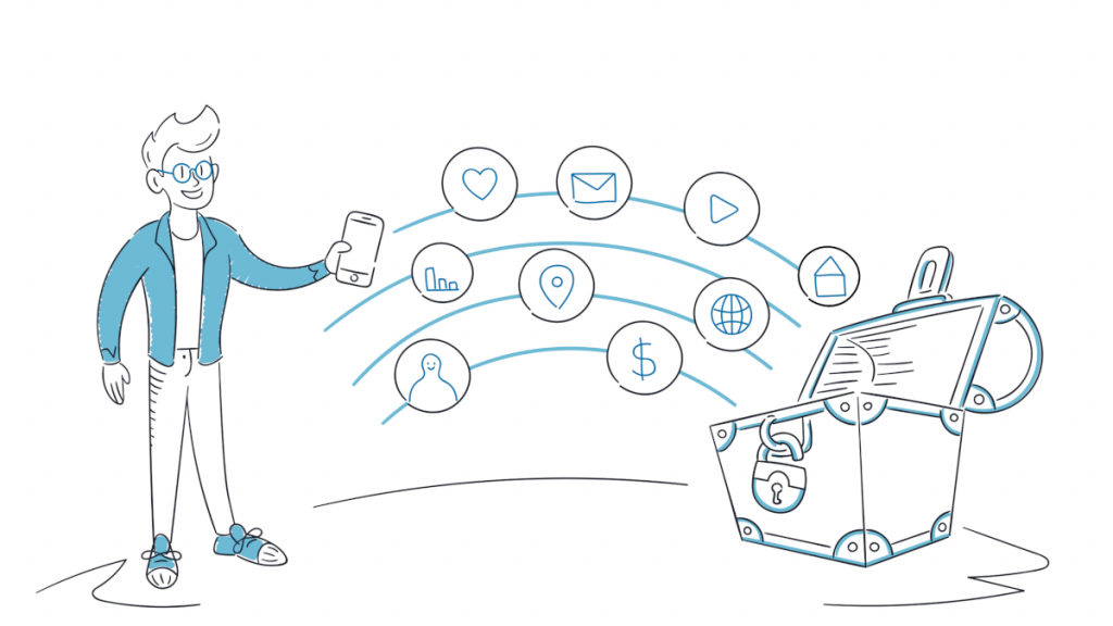 Ein Nutzer führt seine Online-Daten an einem sicheren Ort zusammen
