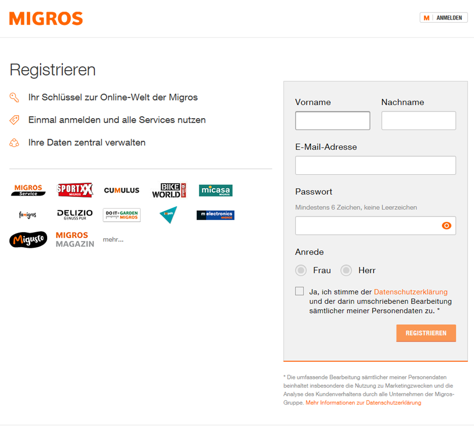 User interface to register with Meine Migros