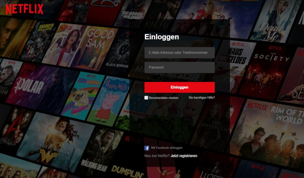 Netflix login user interface