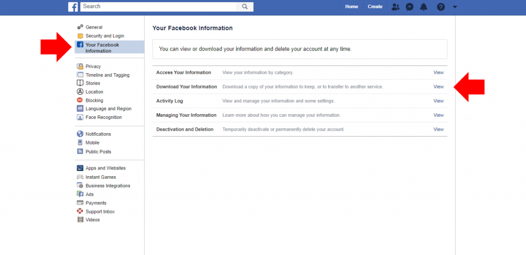 User interface Facebook Settings to download your information