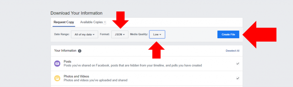 User interface to create your Facebook information file