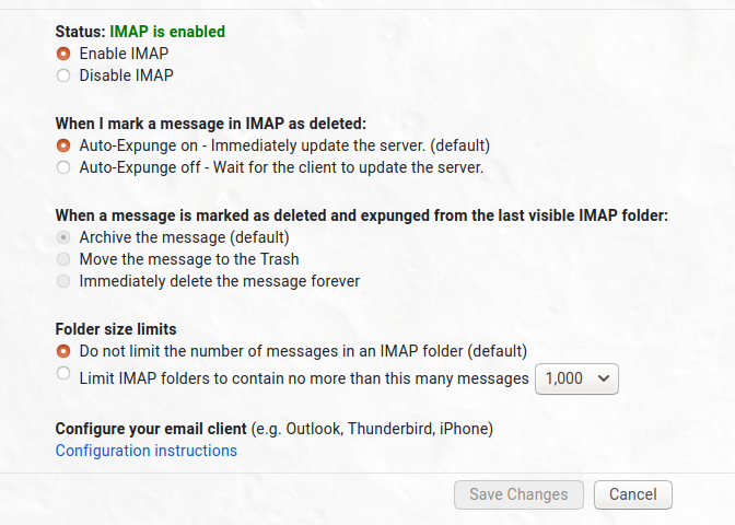 User interface Gmail for IMAP access