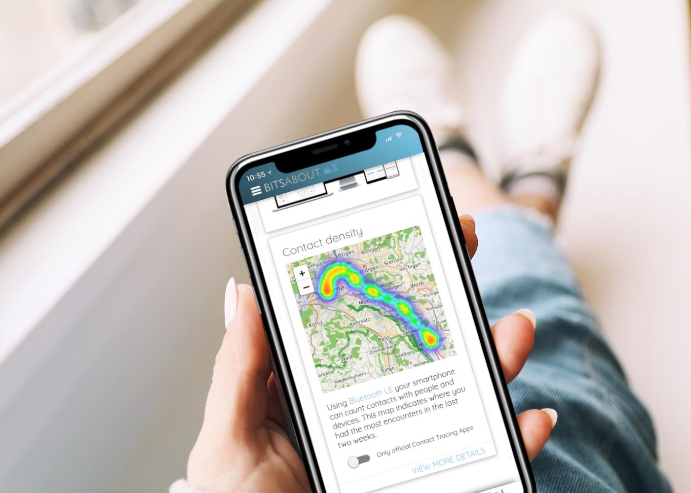 Kontaktdichte auf BitsaboutMe Mobile App