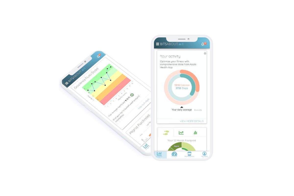 Interface utilisateur de l'application iOS BitsaboutMe